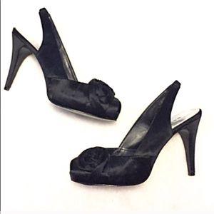 🔷BOGO🔷 WHBM Bonita satin peep toe heels 7.5